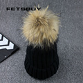Real Raccoon Fur Ball Winter Hat Cap For Men Women Girl 'S Beanie Warm Fur Pom Poms Cotton Bobble Ski Hat Fur Thick Pompoms Hat