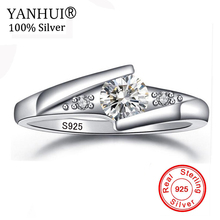 Lose Money Sale! Fine Jewelry 100% Natural Pure 925 Silver Ring Top 0.5 Carat CZ Zircon Engagement Wedding Rings for Women J5036