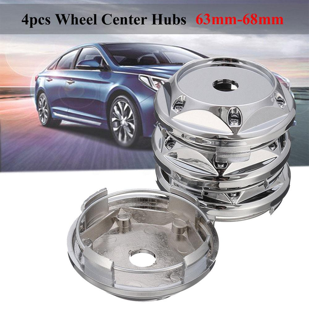 JK Set of 4 Alloy Wheel Hub Centre Caps 68mm Chrome Silver No Logo