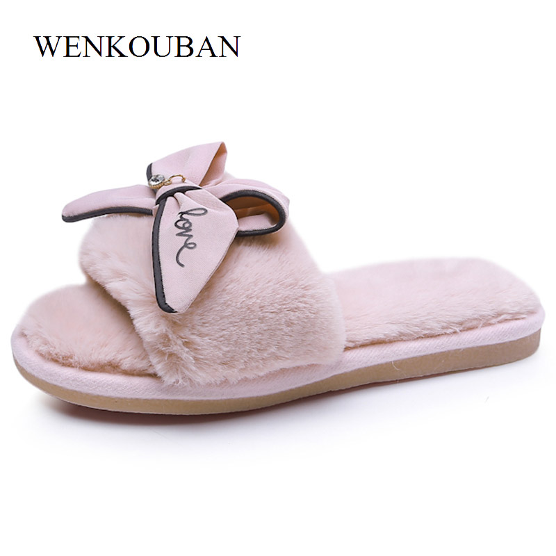 a5ae68197611dc Aliexpress.com   Buy Designer Indoor Shoes Women Slippers Summer Plush Fur Slippers  Ladies Butterfly Knot Shoes Casual Shoes Flat Zapatos Mujer from ...