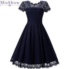 빈티지 칵테일 드레스 a 라인 특종 neckline 레이스 우아한 여름 여성 2019 짧은 vestidos 섹시한 여성 버튼 칵테일 드레스
