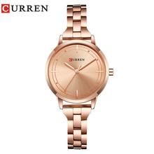 лучшая цена CURREN Top Luxury Rose Gold Watches Women Casual Fashion Quartz Wristwatches Creative Design Ladies Clock Gift Relogio Feminino