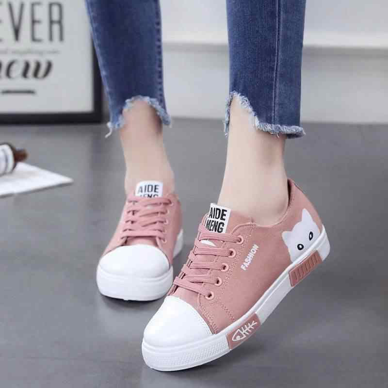 Casual Women Shoes Women Flats Canvas Shoes Fashion Women Sneakers Lace Up Cartoon Ladies Espadrilles Black White Female Shoes