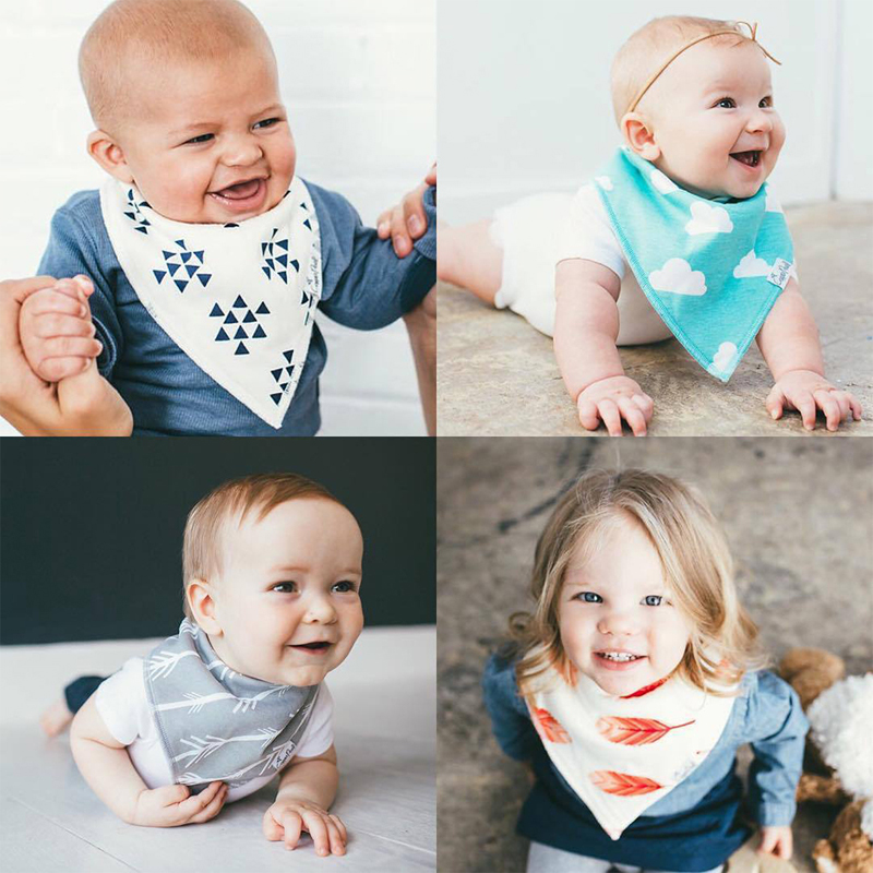 New 4Pcs Infant Kids Baby Burp Feeding Saliva Towel Dribble Triangle Bandana Bibs