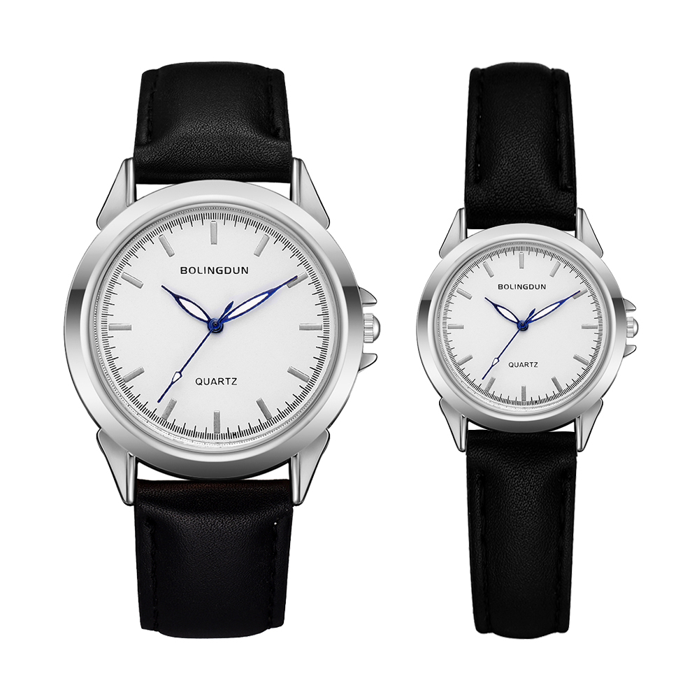 Minimalist Classic Quartz Watch Student Couple Stylish Spire Glass Belt Quartz Wristwatches Lovers Casual Simple Clock Set