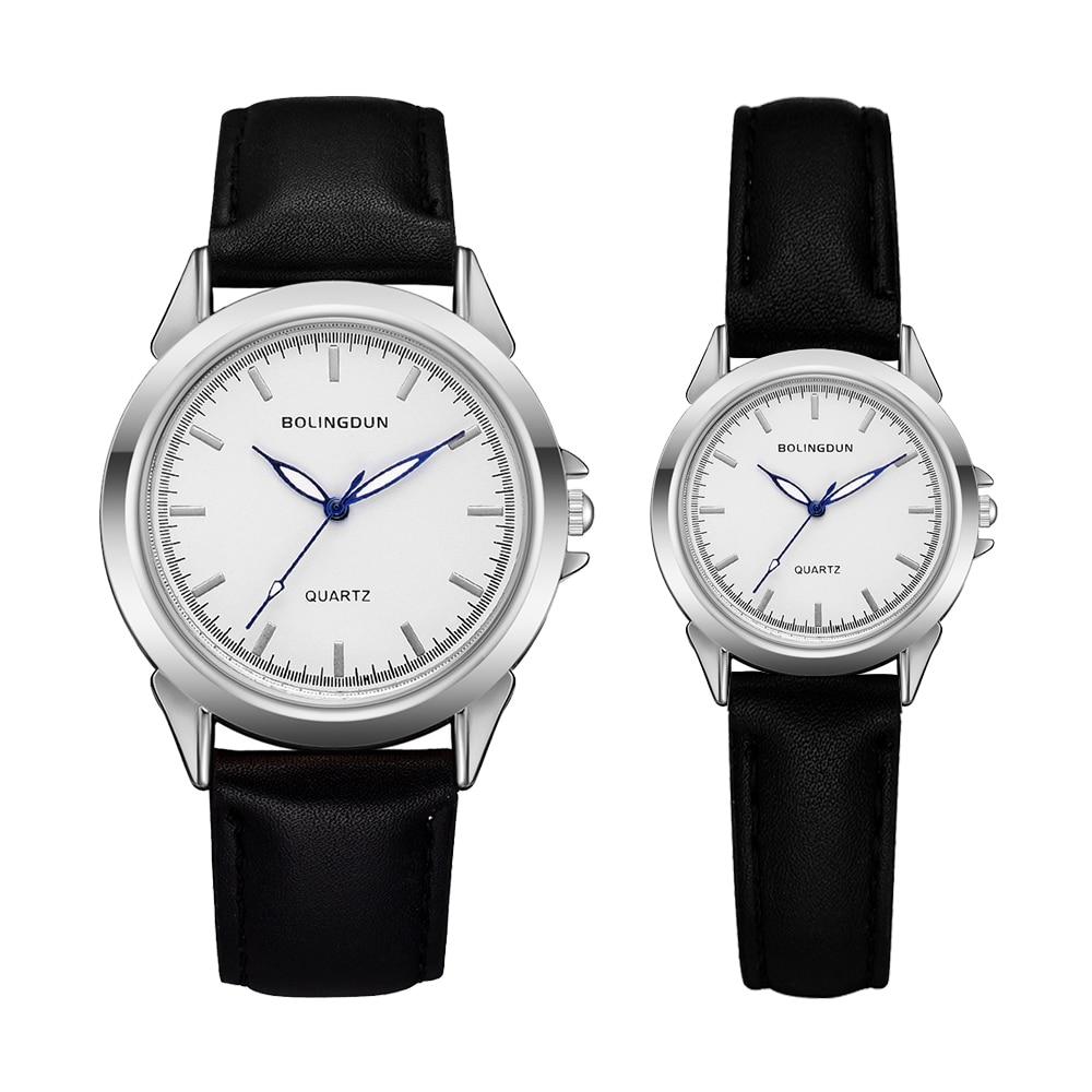 Minimalist Classic Quartz Watch Student Couple Stylish Spire Glass Belt Quartz Wristwatches Lovers Casual Simple Clock Set