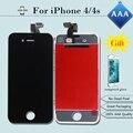 100% marca nova tela de toque para o iphone 4s display lcd aaa qualidade substituição digitador assembléia preto/branco com vidro temperado