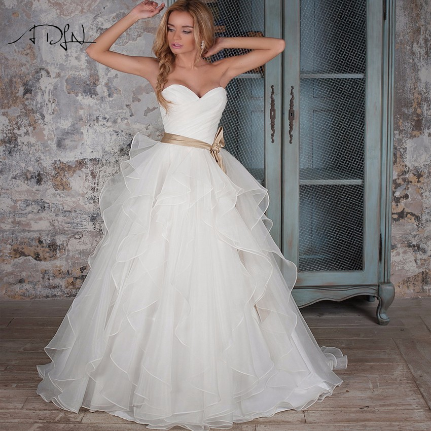 ADLN Corset Wedding Dresses Ruffled Organza Custom Made Puffy Bridal Gown with Bow Sashes White Ivory