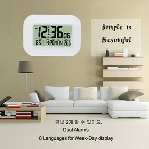 Image 2 - Big Number LCD Digital Wall Clock Table Desktop Alarm Clock with Temperature Thermometer Humidity Hygrometer Snooze Calendar