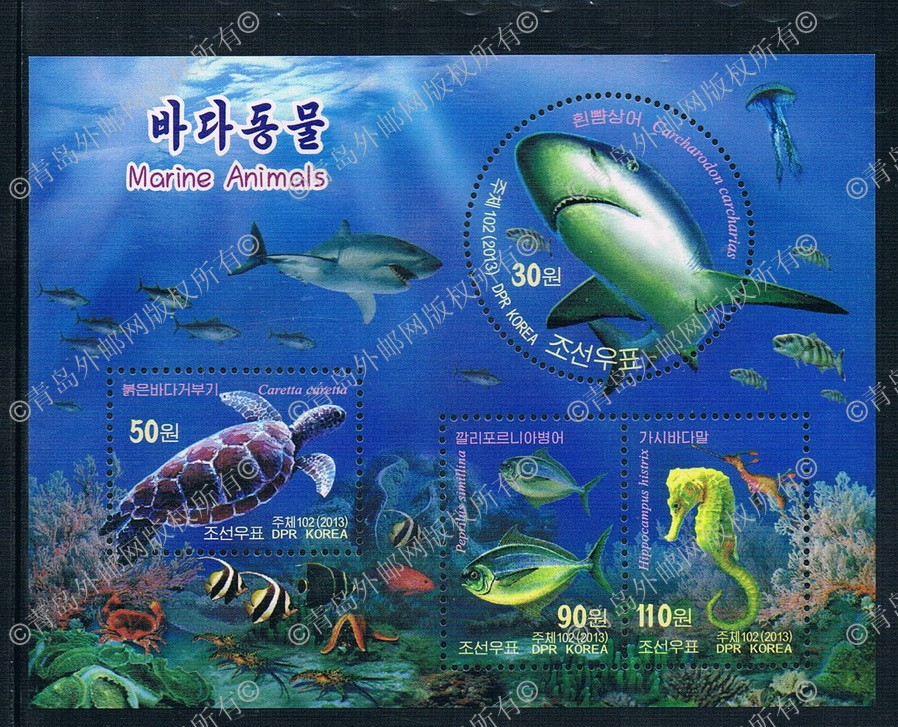 KR1016 Korea 2013 marine animal turtle shark shaped 1MS 0823 new stamps from 2012 ea1420 1ms new 0626 coastal bird stamps