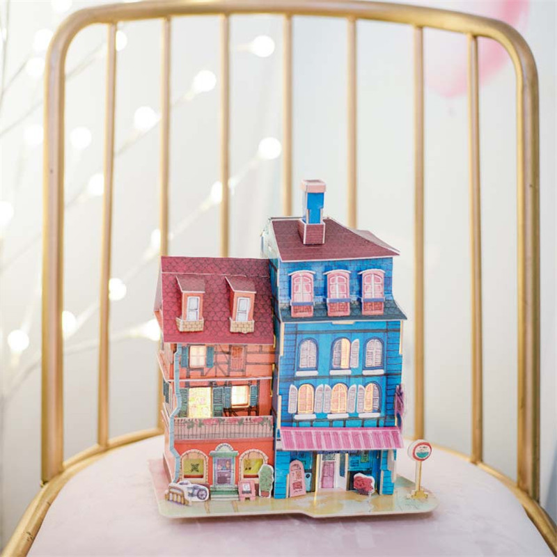 Handmade Creative Jigsaw Puzzle Fairy Tale Town Dollhouse Children Assembly Model Toys Adult Decoration Collection House in Doll Houses from Toys Hobbies