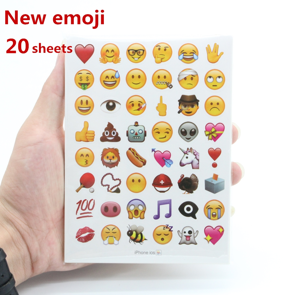 New mixed 20sheets emoji stickers 960 stickers iphone emoticon Cute sticker for notebook fun message Vinyl*funny*creative 5 sheets cut sticker 48 emoji smile face stickers for notebook laptop message twitter large viny instagram