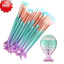 New Mermaid makeup brushes Foundation Eyebrow Eyeliner Blush Cosmetic Concealer Fish tail make up brushes Tools pincel 18may9