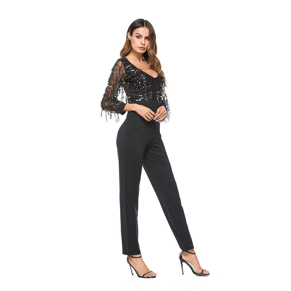 plus récent 5398b d970c rompers womens jumpsuit summer 2019 combinaison pantalon femme elegant  v-neck mesh sequin one piece jumpsuit plus size A1956