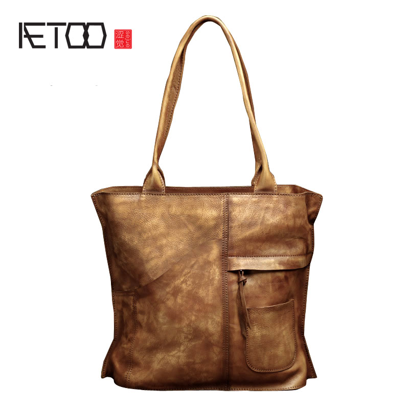 AETOO Women Retro leather handmade handbags leather shoulder bag dark bags new simple leisure first layer of leather bag цена