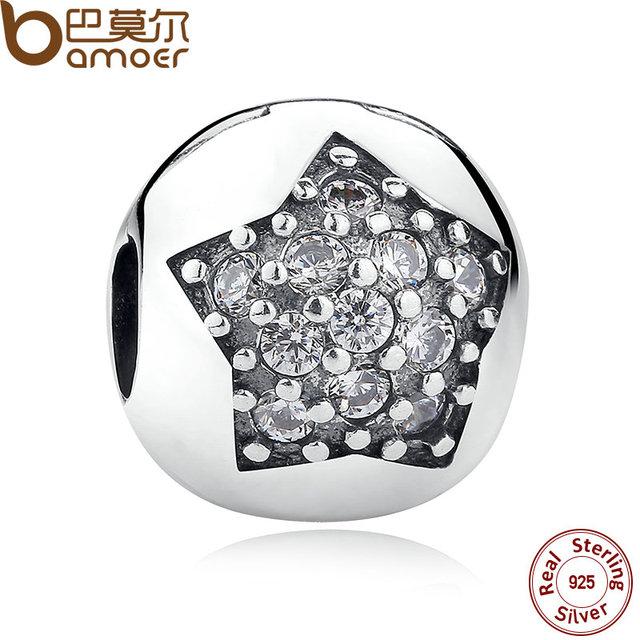 És Uma Estrela de Prata Esterlina 925 Encantos Clipe, claro Charme CZ para As Mulheres Da Moda Pulseira Colar Acessórios