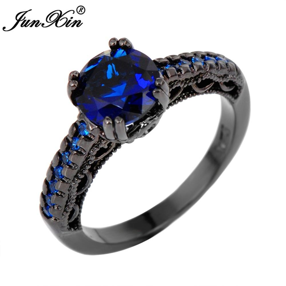 JUNXIN Round Male Female Blue Ring Vintage Black Gold