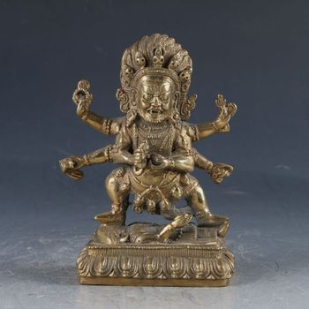 Chinese Feng shui ornaments Tibetan Buddhism Brass Mahakala Buddha Statue