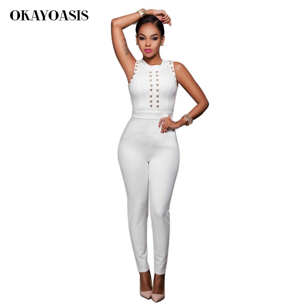 All white bodycon jumpsuit pants for women europe virginia beach