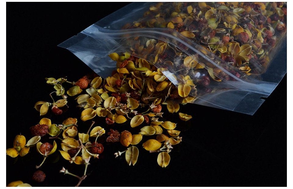 100pcs Aluminum plating zipper poly bag Scented tea translucent Flat Bottom red dates Food grade packing bags Seal