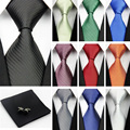 "New Man 100% Silk Ties for Mens Accessories Blue White Red Solid Striped Jacquard Business Wedding Necktie Gravatas (3""/7.5cm) b"