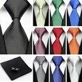 """Nuevo Hombre 100% Corbata de Seda para Hombres Accesorios Azul Blanco Rojo Rayado Sólido Negocio Jacquard Gravatas Corbata de Boda (3 """"/7.5 cm) b"""