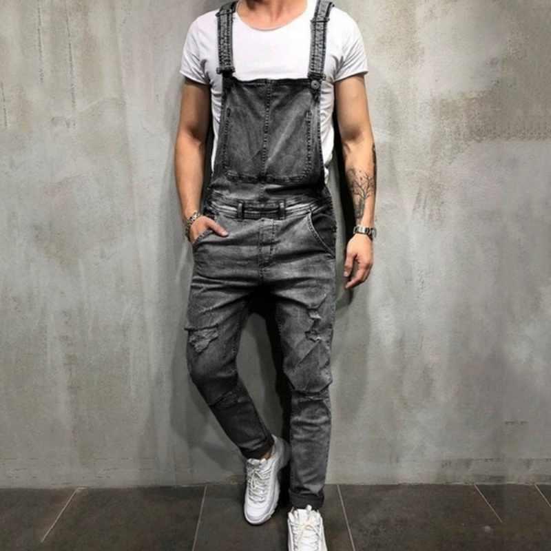 53dd25531452 ... MoneRffi New Fashion Men s Ripped Jeans Jumpsuit High Street Distressed  Denim Bib Overalls For Man Suspender