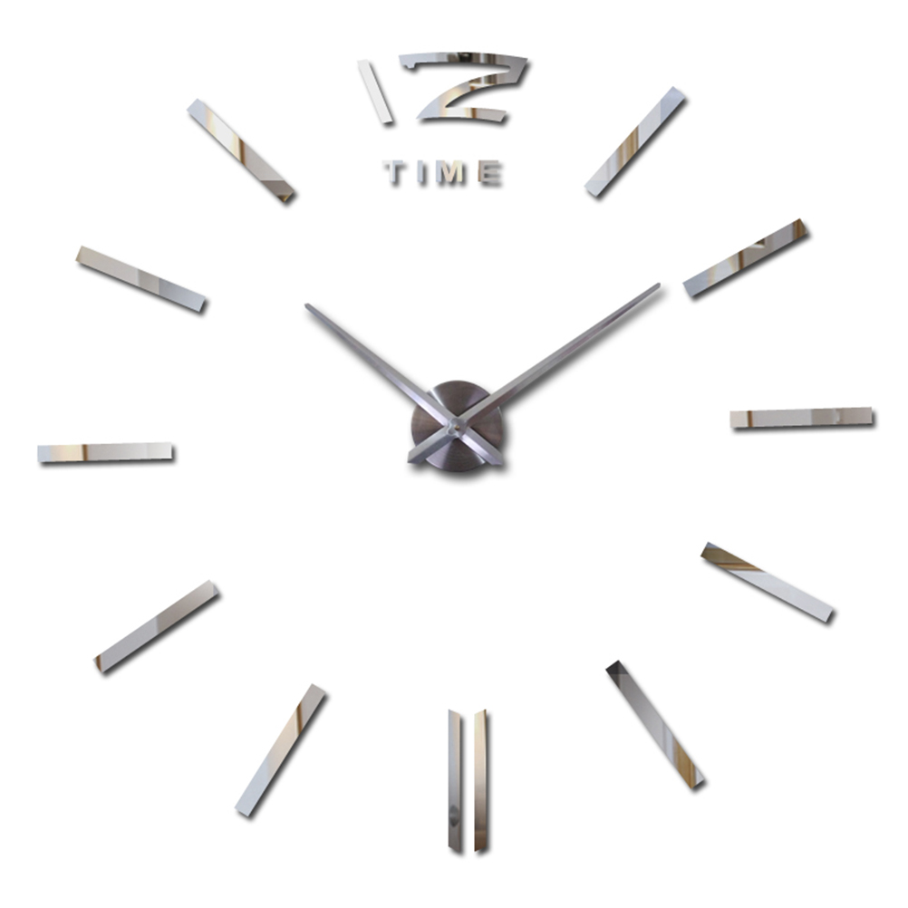 Современная Безрамное большие 3D DIY настенные часы настенной Стикеры для дома DIY декоративно Гостиная (серебро)