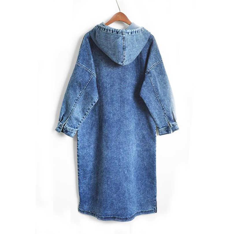 Демисезонный длинные джинсовые женские платья с капюшоном джинсовое платье с длинными рукавами Женский Повседневный свободный джинсовое платье, Vestidos, плюс Размеры AB786