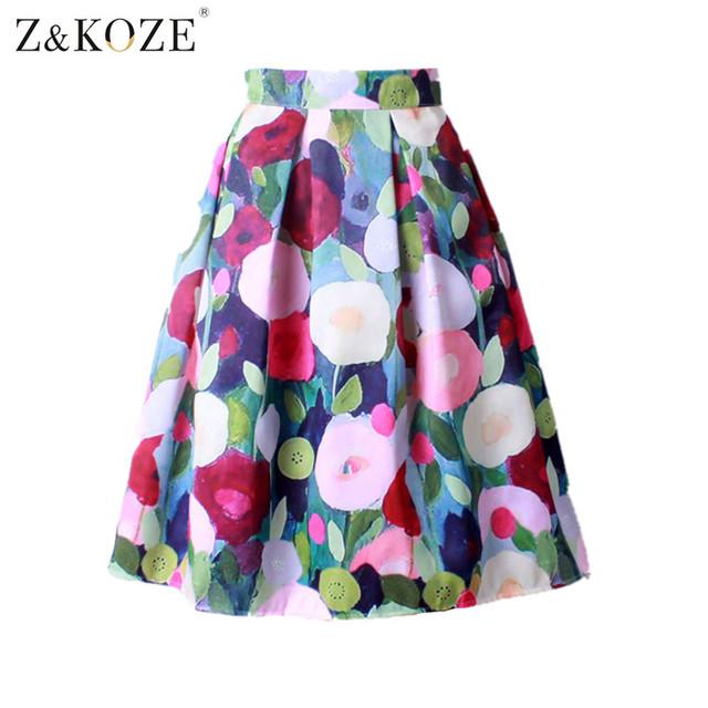 Z & koze 2016 verão mulheres vintage retro audrey hepburn estilo de cetim floral plissada saias de cintura alta a linha tutu midi saia
