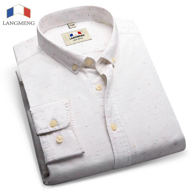 Langmeng 100% Hombres de Algodón de Manga Larga Sólido Camisa Masculina Sociales alta Calidad Tops Camisa de Vestir de Moda Para Hombre Camisas Casuales Más tamaño