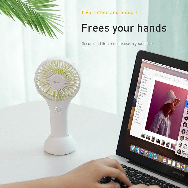 Baseus Portable USB Fan Electric Handheld Small Fan For Office Gadgets Rechargeable Handy Mini USB Fan Summer Cooler Cooling Fan