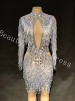 Sparkly Crystals Silver Tassel Dress Women's Evening Party Wear Luxurious Dress Prom Birthday Celebrate Female Singer Dresses