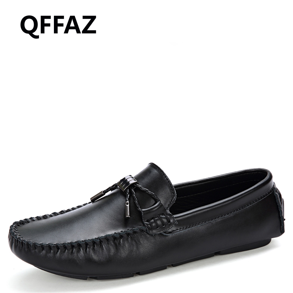 QFFAZ New Men Shoes Leather Mocassins Men Loafers Slip On Loafers Men Casual Shoes Men Oxford Dress Shoes Drop Shipping