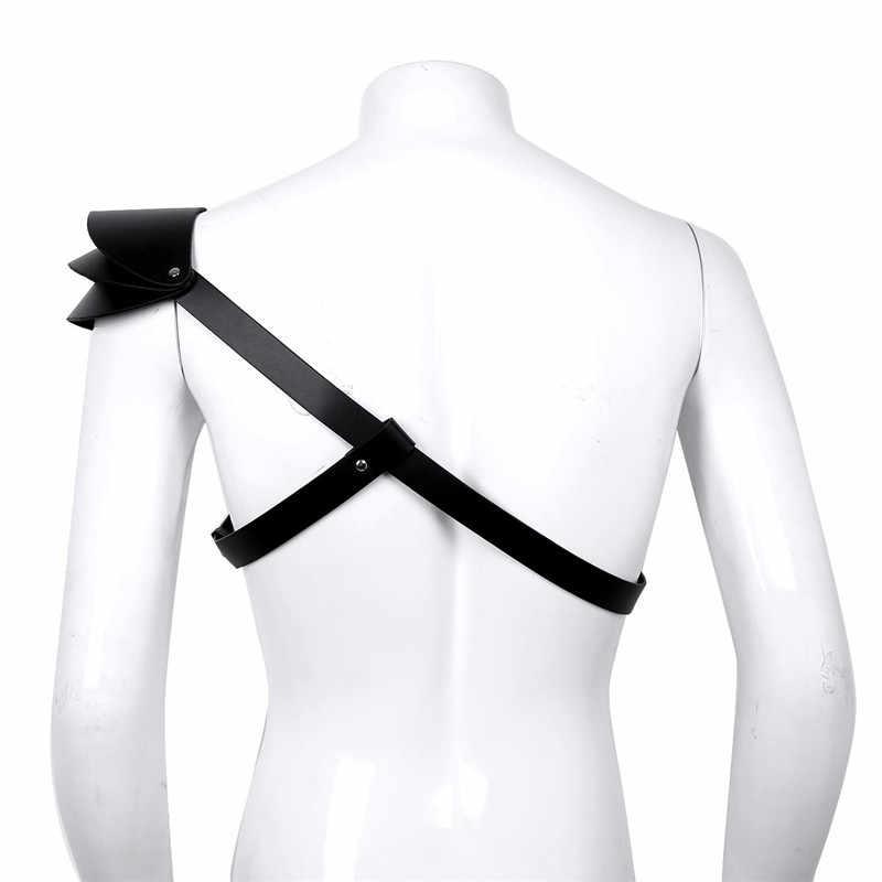 TiaoBug, искусственная кожа, регулируемые пряжки, на одно плечо, для мужчин, защита, броня, костюм, сексуальный, для мужчин, тело, грудь, ремень, жгут, БДСМ, бондаж