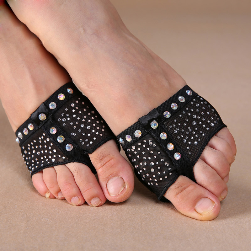 Belly Dancing Foot Thong Toe Pad Belly Dance Accessories Leopard Sequins Heel Protector Professional Ballet Dance Socks 1 Pair
