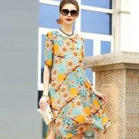 A5ZT913-3 Toptan Avrupa ve Amerika Birleşik Devletleri Moda Marka Giyim Kadın 100% Ipek Elbiseler Baskı Yaz Elbise kadın