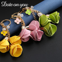 Charm Fashion Leather Rose Flower Key Chain Cute Tassel Flower Key Chain Women Keychain Female Bag Pendant Jewelry Gifts(China)