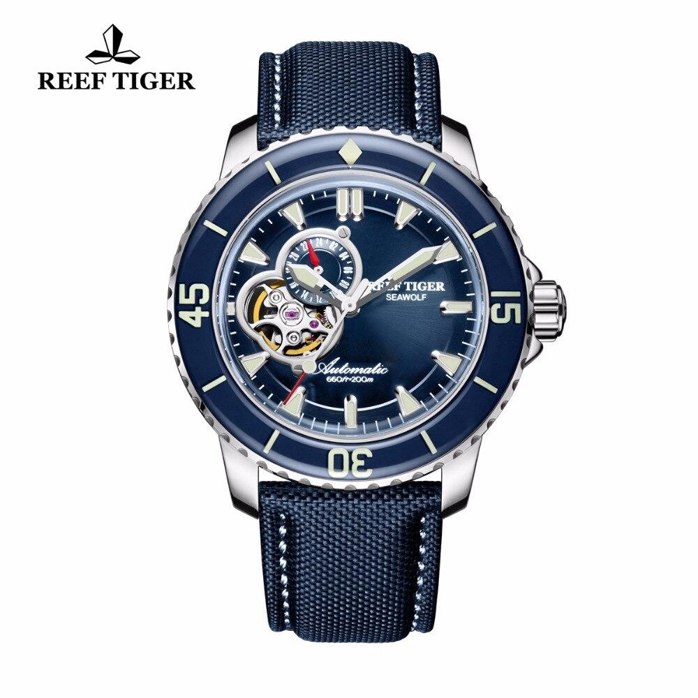 Риф Тигр/RT мужские часы погружения нейлон ремешок синий циферблат часы световой автоматические часы с датой RGA3039