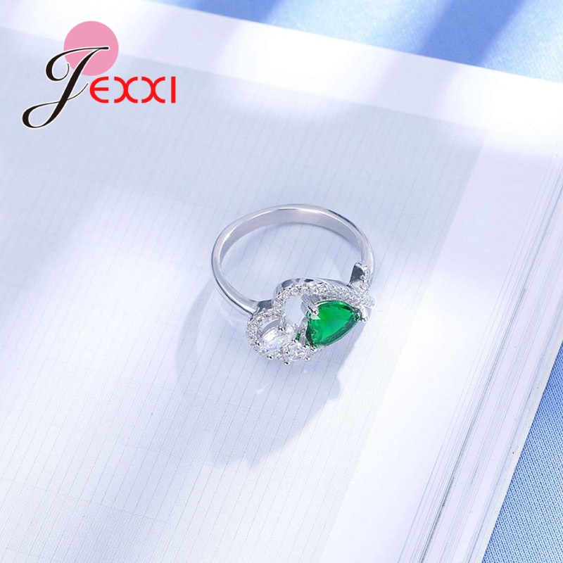 JEXXI 2018 New Fashion Fine Silver Jewelry Special Design 925 Sterling Silver Ring with Heart AAA CZ Crystal Ring Women Jewelry