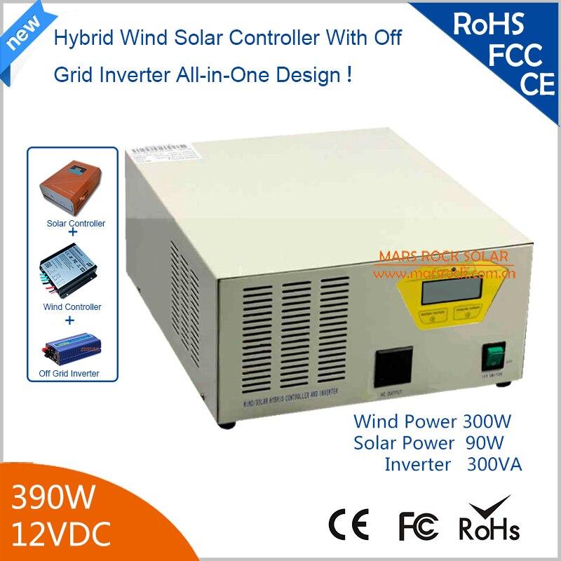 390 w 12 V Hybird vent contrôleur solaire onduleur 300 W vent + 90 w solaire avec onduleur à onde sinusoïdale Pure 90% efficacité