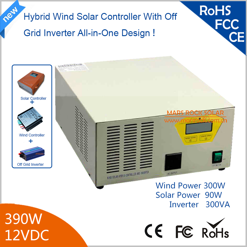 390w 12V Hybird Wind Solar Controller Inverter 300W Wind + 90w Solar with Pure Sine Wave Inverter 90% Efficiency 2017 new arrival 600w max 800w wind generator with 600w wind charge controller and 1000w pure sine wave inverter