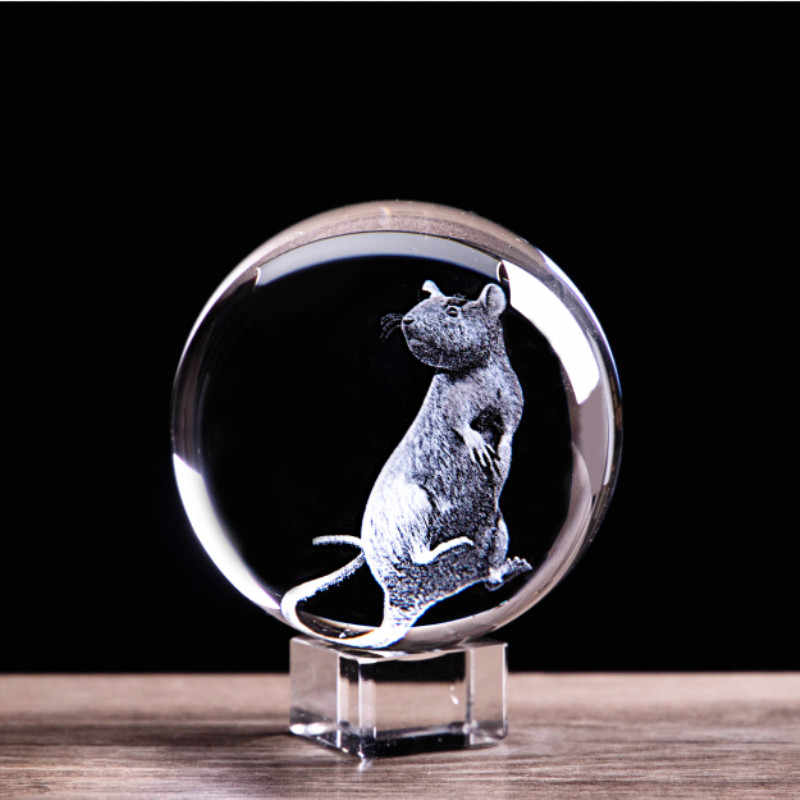 3D Laser Engraved Zodiac Rat Crystal Ball Art Animal Collectible Figurines Feng Shui Home Decor Glass Marbles Sphere ornaments