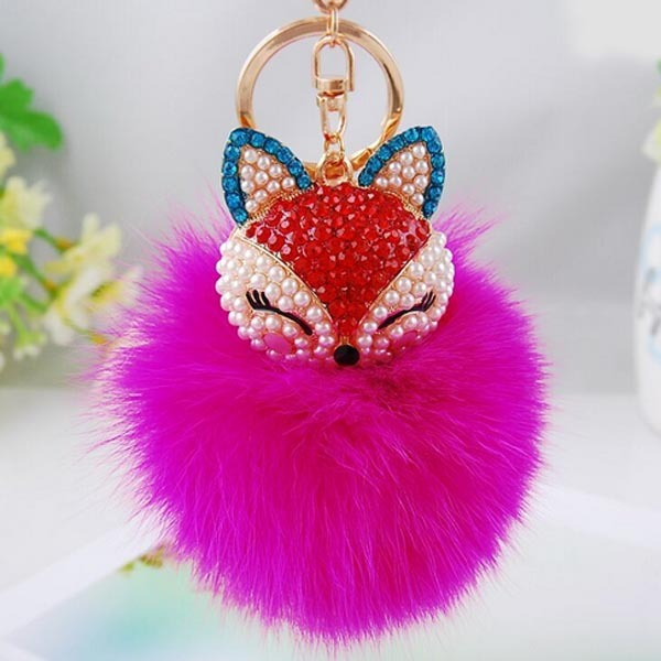 New Fashion Cute Fox Fur Ball Plush Keychain and Bag Charm