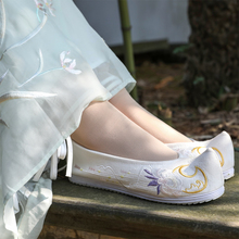 2019 New Arrival Spring Chinese Style Women Shoes Comfortable Flats Warped-head Platform Off White Embroidery Yu Gou