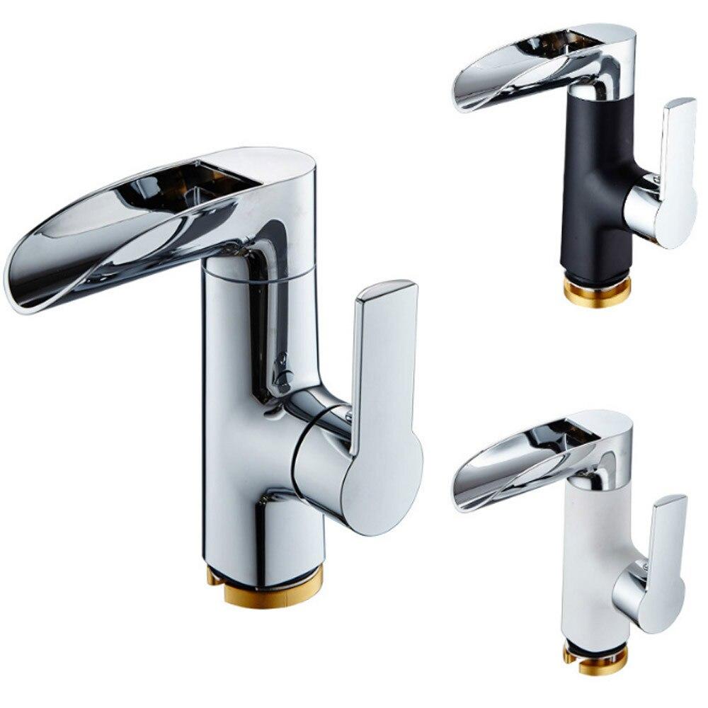 Moderne salle de bains évier robinet en laiton pont montage noir cascade bassin robinet vanité navire éviers mélangeur robinet llave de frega torneira