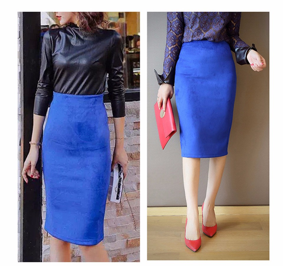 Neophil 2018 Summer Gray Pink Women Suede Midi Pencil Skirts Causal High Waist Sexy Stretch Ladies Office Work Wear Saia S1009 10