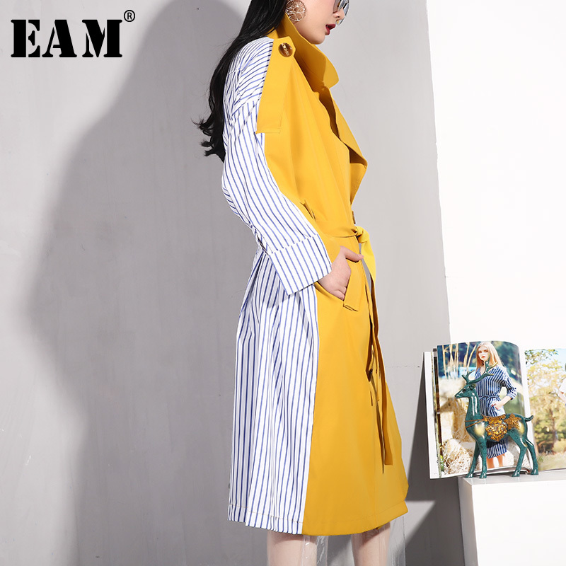 [EAM] 2020 New Spring Summer Lapel Long Sleeve Yellow Hit Color Back Striped Stitch Windbreaker Women Trench Fashion Tide BD22