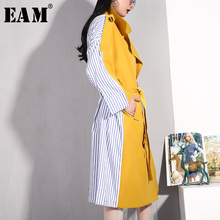 [EAM] 2020 New Spring Summer Lapel Long Sleeve Yellow Hit Color Back Striped Stitch Windbreaker Wome