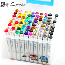 Superior Double Head Oily Marker Pen 60/80/120/160/218colors 1/5mm Alcohol Based Ink Art Markers for Student and Designer